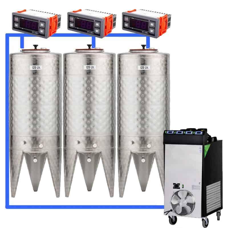 CFS 1ZS Complete beer fermentation sets simplified CLC SNP100H 3T - CFSCT1-3xCFT100SNP : Complete fermentation set with 3xCFT-SNP 120 liters