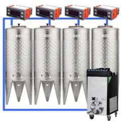 CFSCT1-4xCFT100SNP : Complete fermentation set with 4pcs of CFT-SNP 120 liters, direct cooling