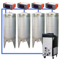 CFSCT1-4xCFT200SNP : Complete fermentation set with 4pcs of CFT-SNP 240 liters, direct cooling