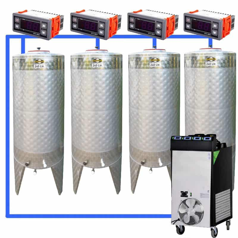 CFS 1ZS Complete beer fermentation sets simplified CLC SNP200H 4T - CFSCT1-4xCFT200SNP : Complete fermentation set with 4xCFT-SNP 240 liters