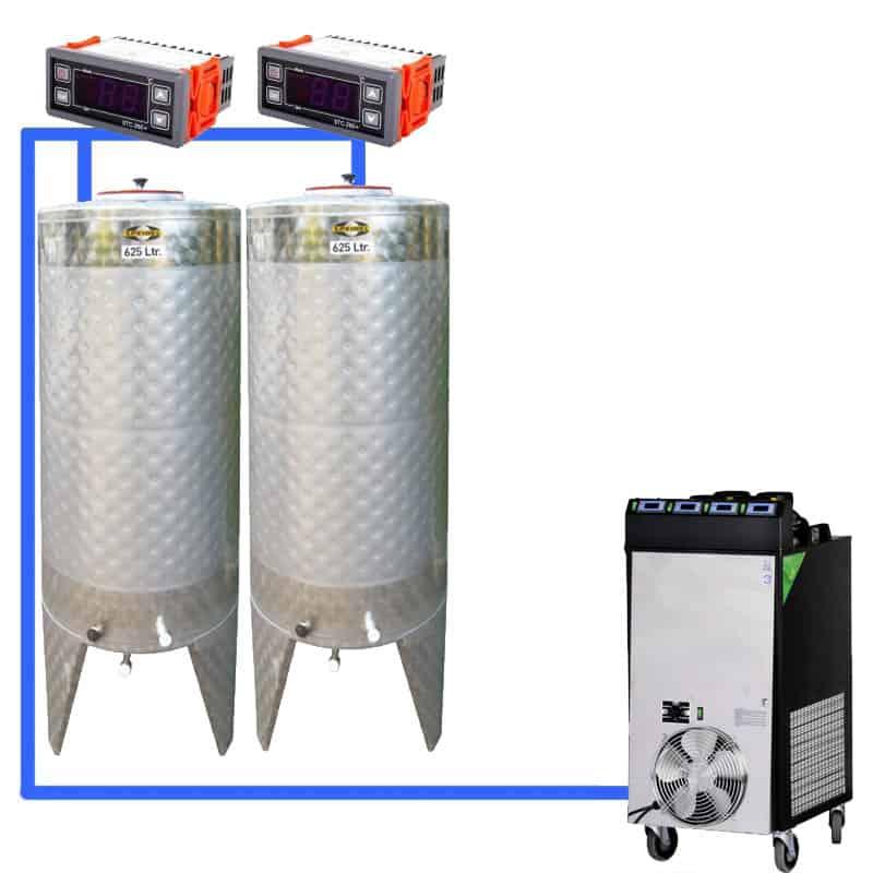 CFS 1ZS Complete beer fermentation sets simplified CLC SNP500H 2T - CFSCT1-2xCFT500SNP : Complete fermentation set with 2xCFT-SNP 625 liters