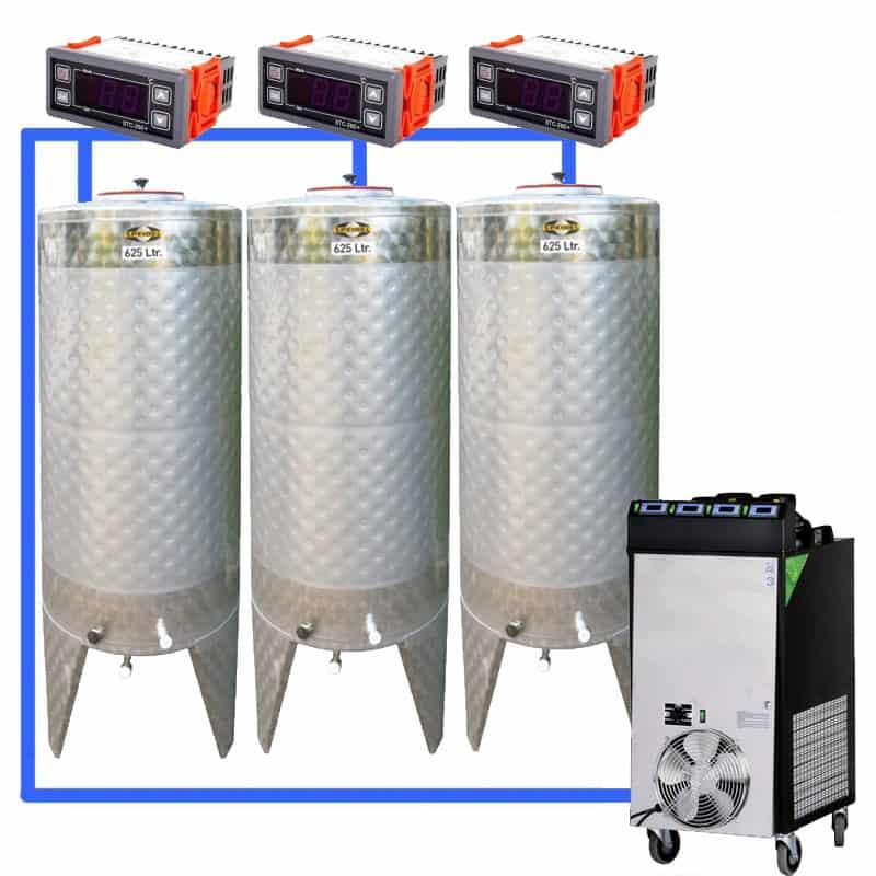 CFS 1ZS Complete beer fermentation sets simplified CLC SNP500H 3T - CFSCT1-3xCFT500SNP : Complete fermentation set with 3xCFT-SNP 625 liters