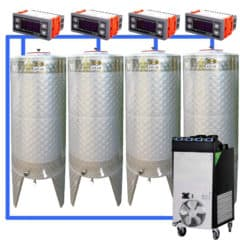 CFSCT1-4xCFT500SNP : Complete fermentation set with 4pcs of CFT-SNP 625 liters, direct cooling