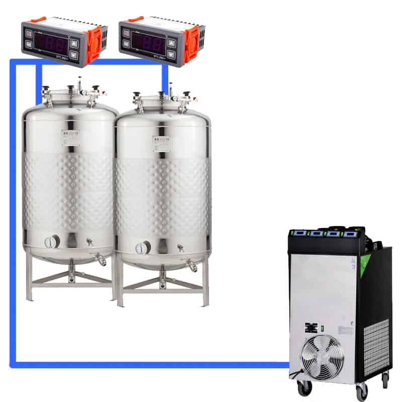 CFS1C CFT Complete beer fermentation sets simplified CLC 4 2T - CFSCT1-2xFMT1000SLP : Complete fermentation set with 2xFMT-SLP 1150 liters