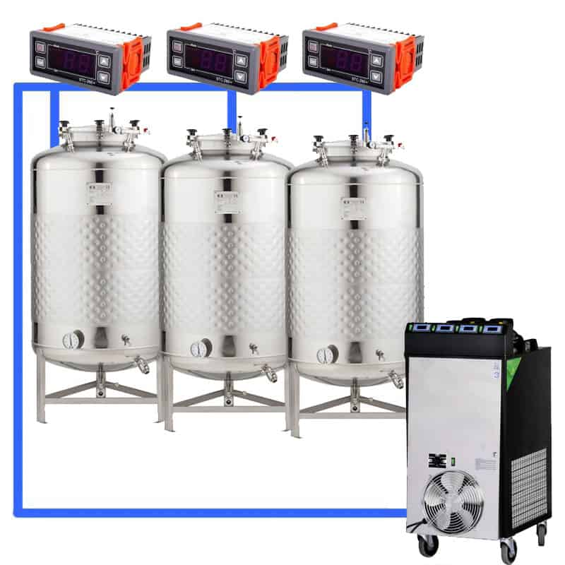 CFS1C CFT Complete beer fermentation sets simplified CLC 4 3T - CFSCT1-3xFMT500SHP : Complete fermentation set with 3xFMT-SHP 625 liters