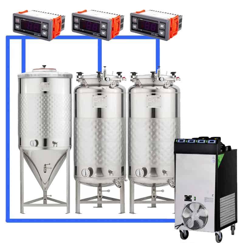 CFSCT1 1xCCT200SNP 2xFMT200SLP - CFSCT1-1xCCT200SNP-2xFMT200SLP : Complete fermentation set with 1xCCT-SNP 240 liters and 2xFMT-SLP 240 liters
