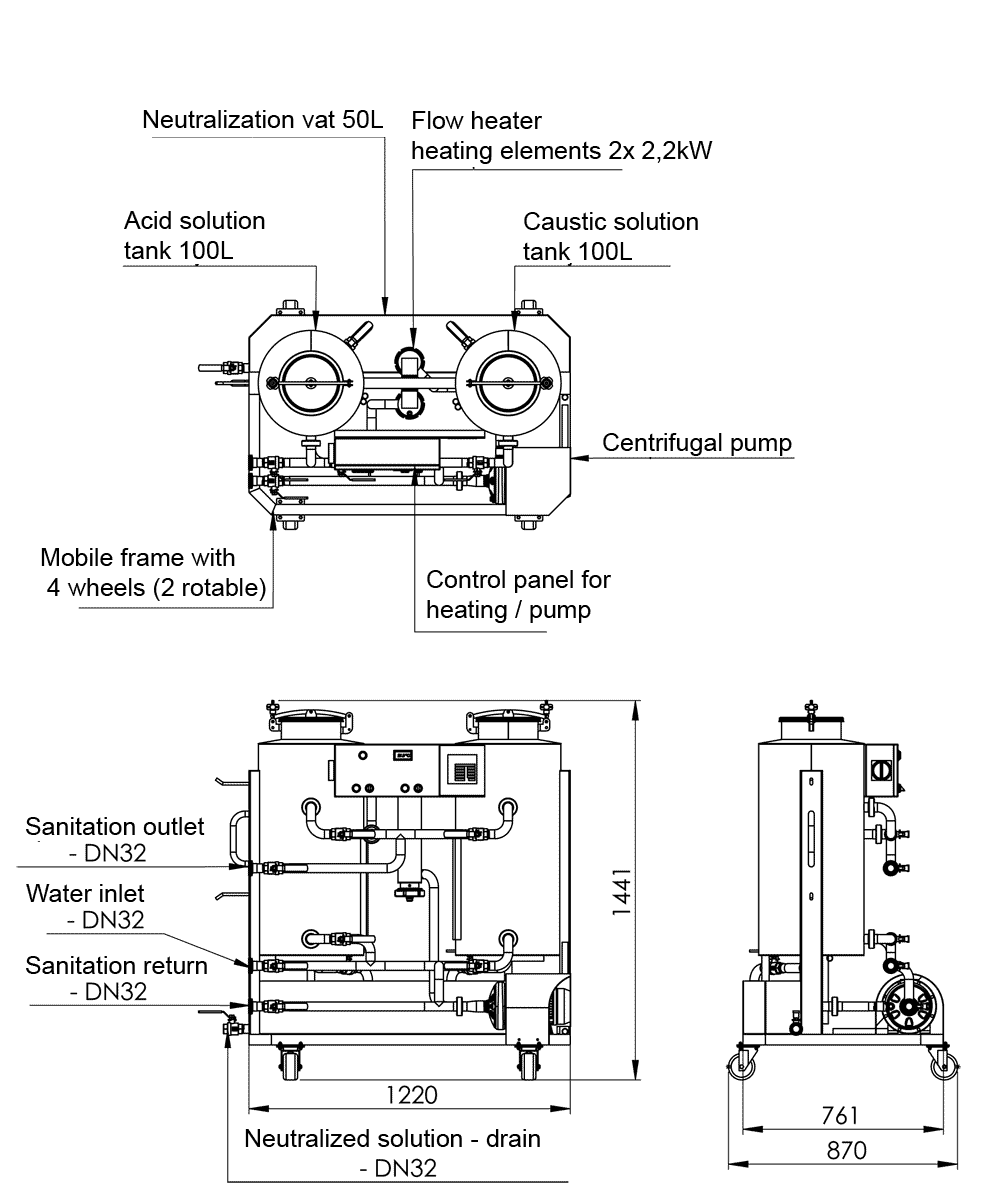 Description of the CIP-102 Cleaning-In-Place CIP station