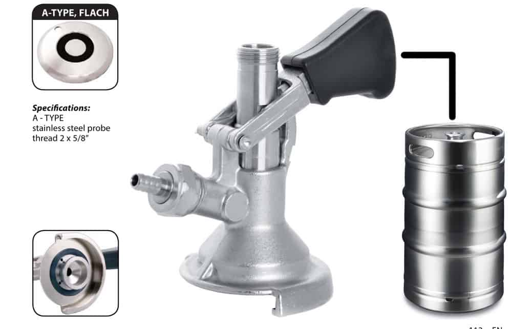 DHK PYGA 03 - DHK-PYGA-FS Dispense head PYGMY for beer kegs - type A / full set with couplers a hoses - dhk