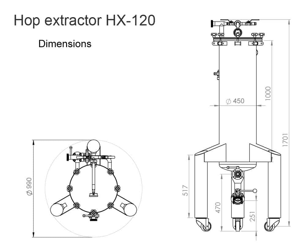 Hop Gun HG 120 dimensions 1 - HX-120 The hop extractor 120 liters for extraction hops into cold beer