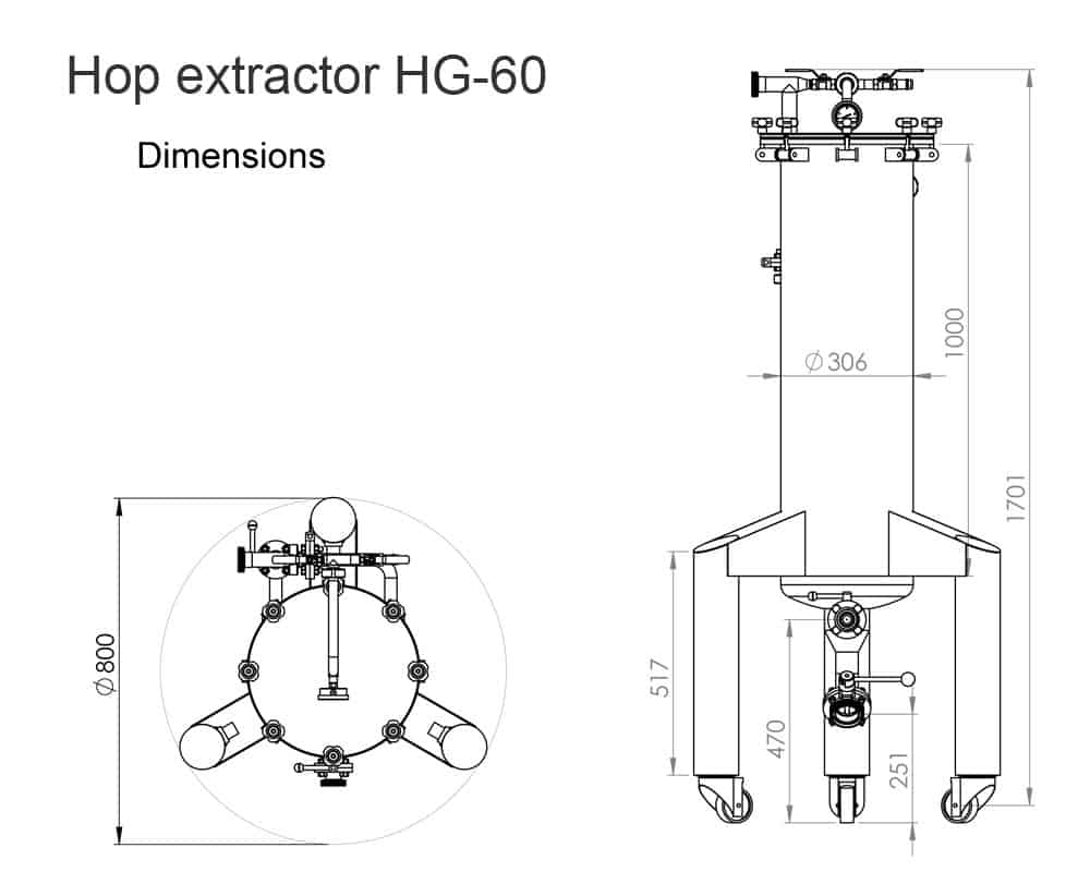 Hop Gun HG 60 dimensions 1 - HX-60 The hop extractor 60 liters for extraction hops into cold beer
