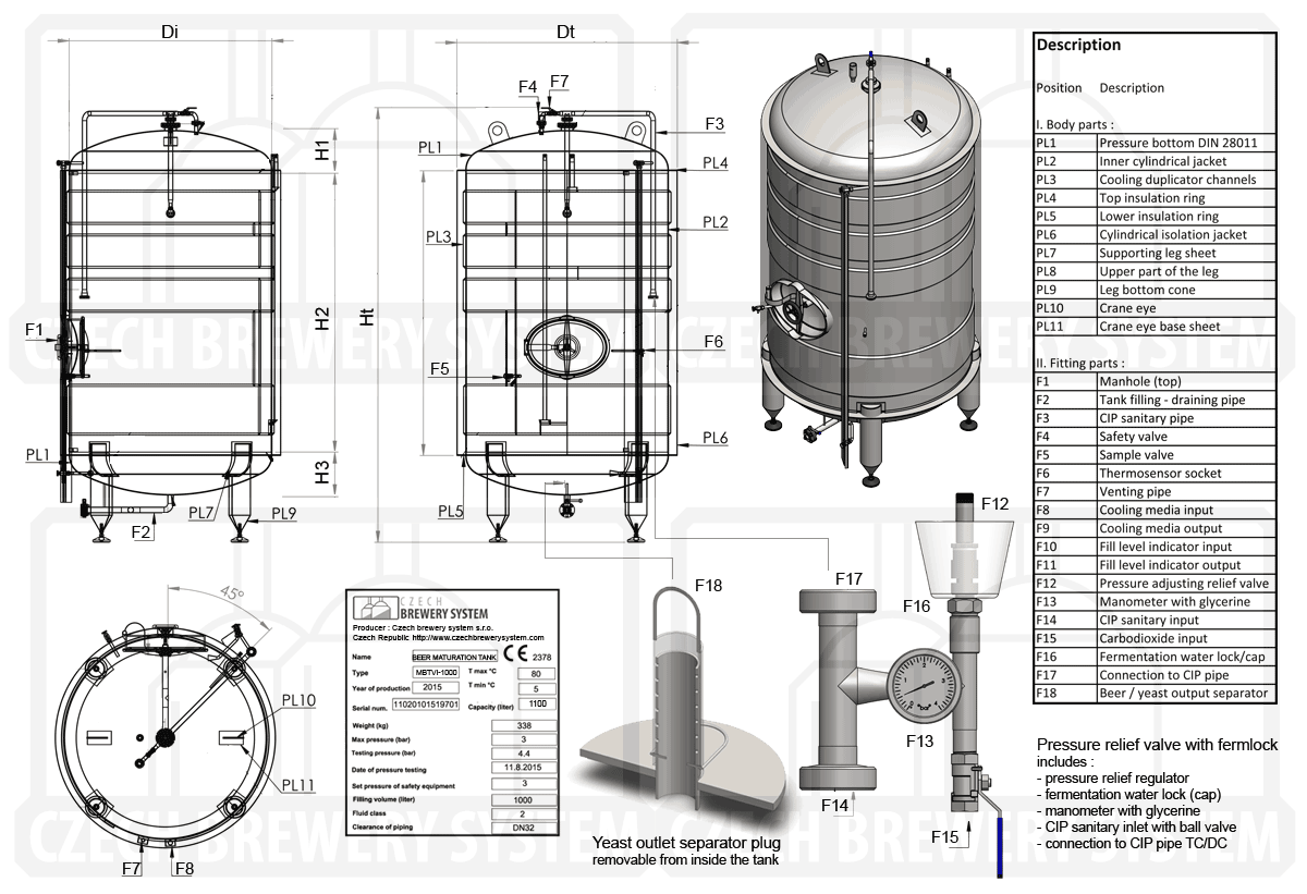 MBTVI 2000 2015 description - MBTVI-800C Cylindrical pressure tank for the secondary fermentation of beer or cider (maturation, carbonization), vertical, insulated, 800/959L, 3.0bar