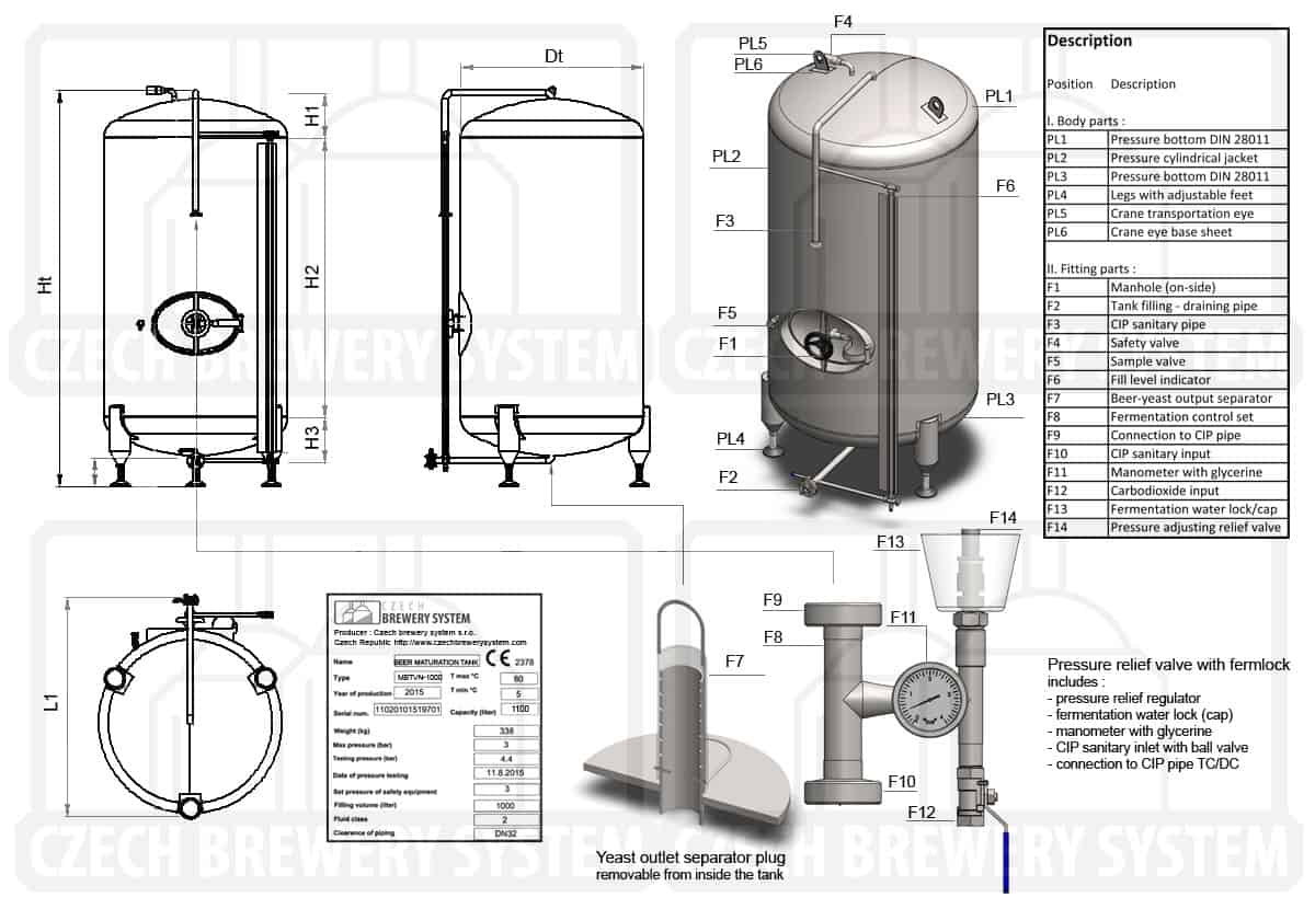 MBTVN 2000 2015 description - MBTVN-250C Cylindrical pressure tank for the secondary fermentation of beer or cider (maturation, carbonization), vertical, non-insulated, 250/290L, 3.0bar - vertical-non-insulated