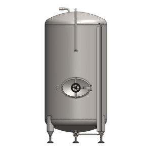 BBTVN-750C Cylindrical pressure tank for storage and final conditioning of carbonated beverage before bottling, vertical, non-insulated, 750/869L, 3.0bar