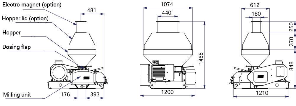 Možnosti čerpací sady MM4000 - MMR-600: Sladovna - stroj na mačkání sladových zrn, 11kW 3300-4000 kg / h - široké válce