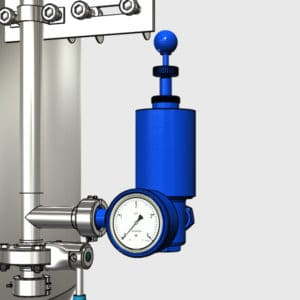 MTS-RV1-DN25TC Slėgio reguliavimo aparatas su manometru ir oro užraktu CCT-M moduliniams fermentams