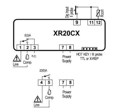 XR20CX schema01 - XR20CX - Mikroprocesorių temperatūros reguliatorius