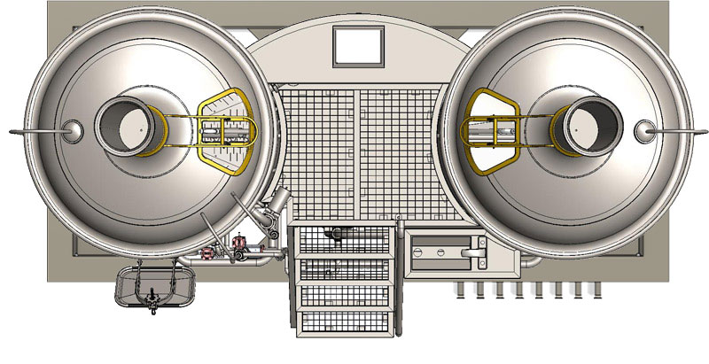 Modulo Classic 1000 brewhouse - top view on the wort brew machine