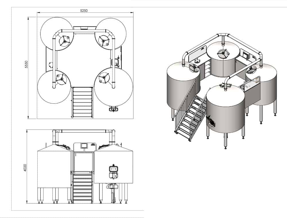 brewhouse breworx quadrant 2000 dimensions - BREWORX QUADRANT 500MR : Wort brew machine – special type to production wort from malt, rice and hops - bqd, bwm-bqd