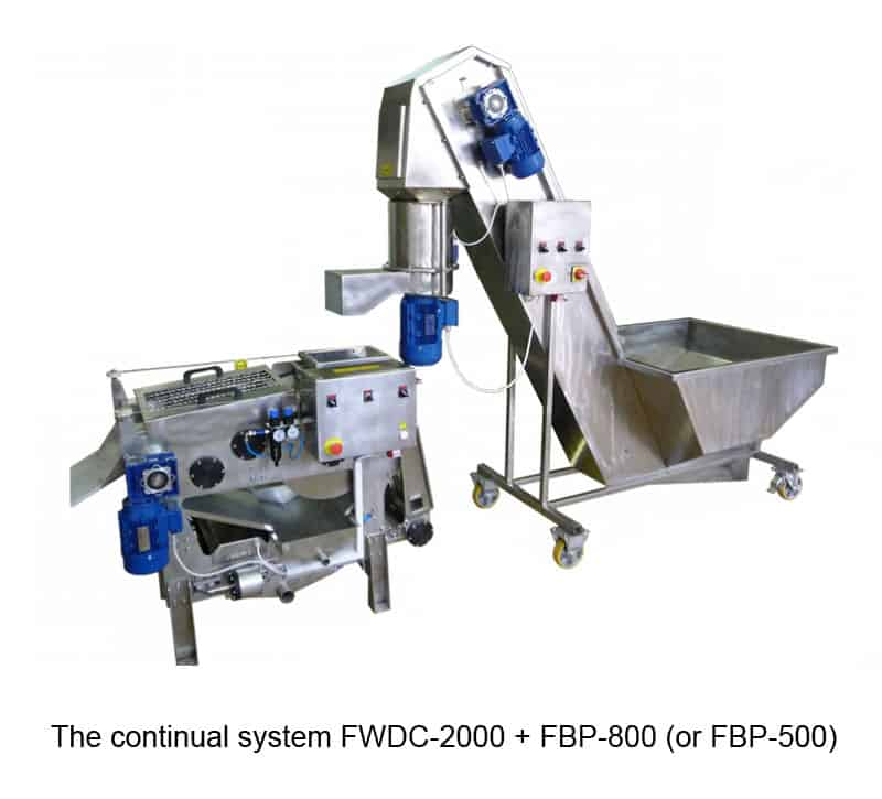 fwdc 2000 fbp 800 - FWDC-2000 Fruit washer-dryer-crusher 2000 kg/hour