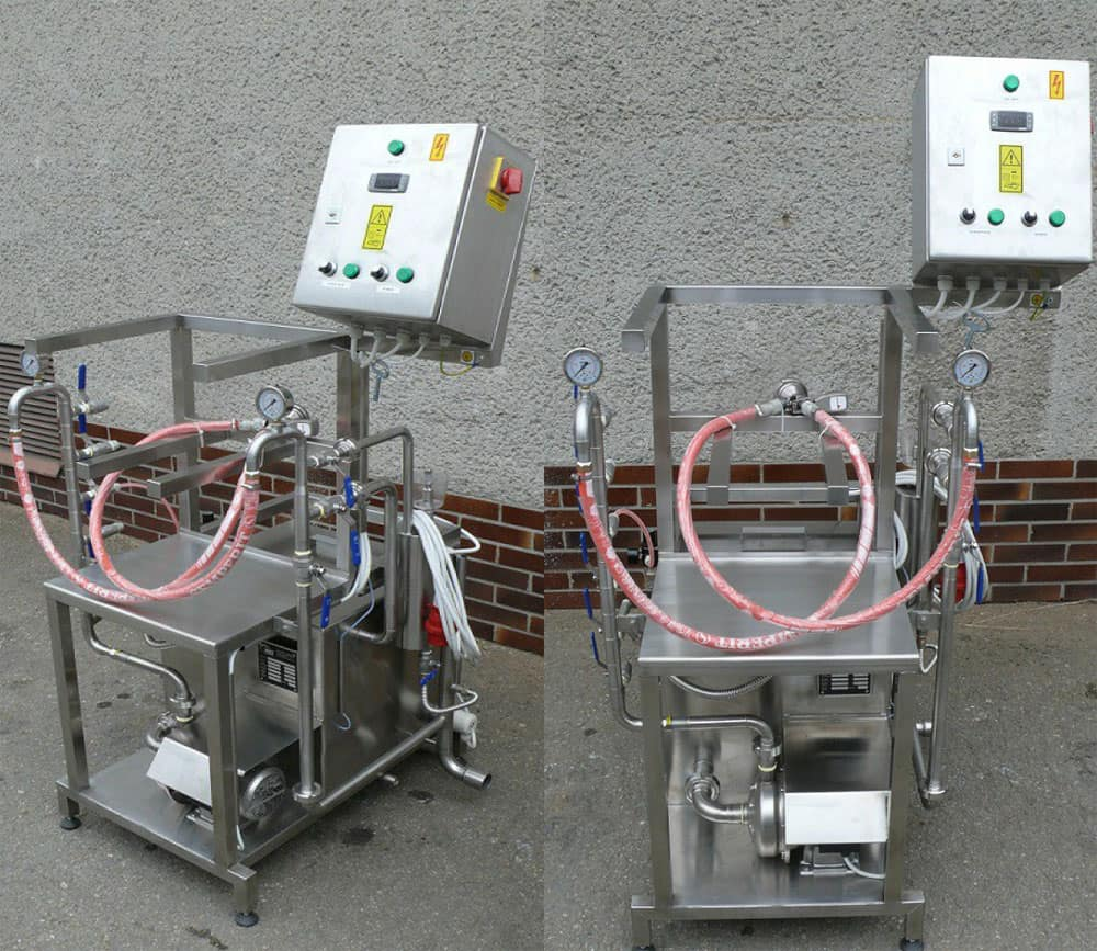 KCM-10 machine - photos. Special manual keg rinser and filler for beer stainless steel kegs.