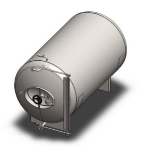 MBTHN-150C Cylindrical pressure tank for the secondary fermentation of beer or cider (maturation, carbonization), horizontal, non-insulated, 150/177L, 3.0bar