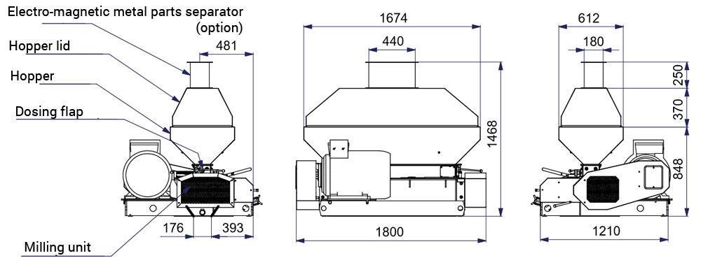 mmr 1200 popis - MMR-1200: Sladovna - stroj na mačkání sladových zrn, 45kW 9000-11100 kg / h - široké válce