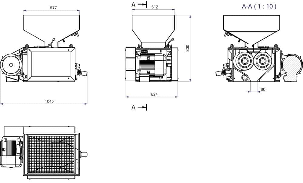 Popisovací stroj mmr 300 - MMR-300: Sladovna - stroj na mačkání sladových zrn, 5.5 kW 1200-1800 kg / h - široké válce