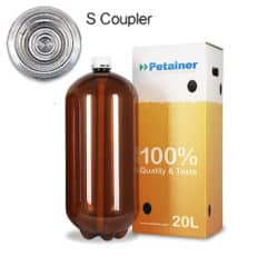 80xPETA-20CLSB 80pcs Petainer Keg 20 liters classic S-coupler with white box